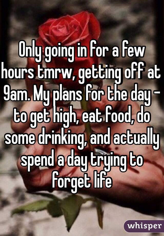 Only going in for a few hours tmrw, getting off at 9am. My plans for the day - to get high, eat food, do some drinking, and actually spend a day trying to forget life