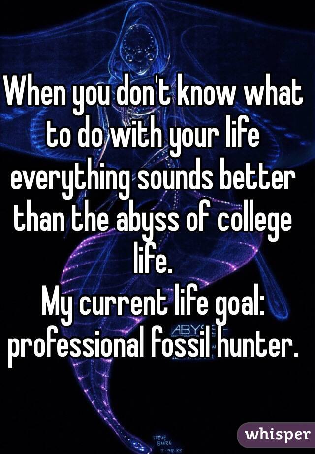 When you don't know what to do with your life everything sounds better than the abyss of college life.  My current life goal: professional fossil hunter.
