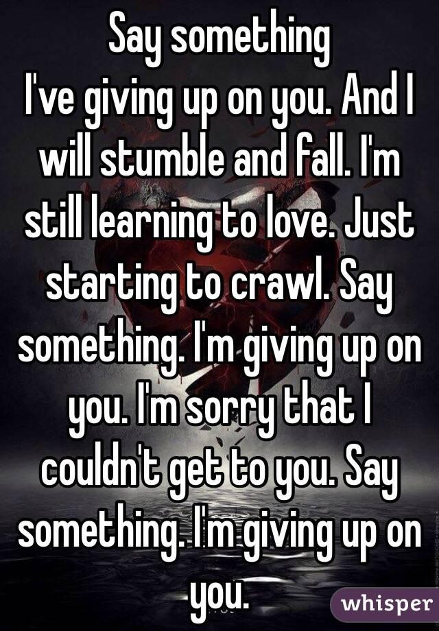 Lyric say something lyrics : Say something I've giving up on you. And I will stumble and fall ...