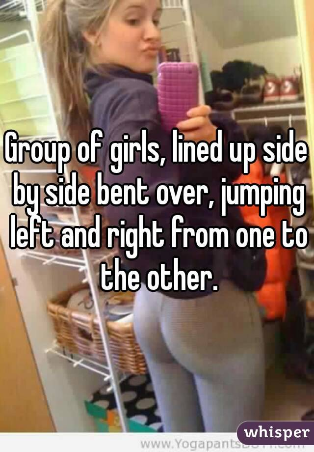 Think, Group of girls bending over join. And