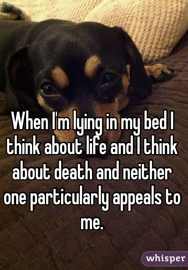 When I'm lying in my bed I think about life and I think about death and neither one particularly appeals to me.