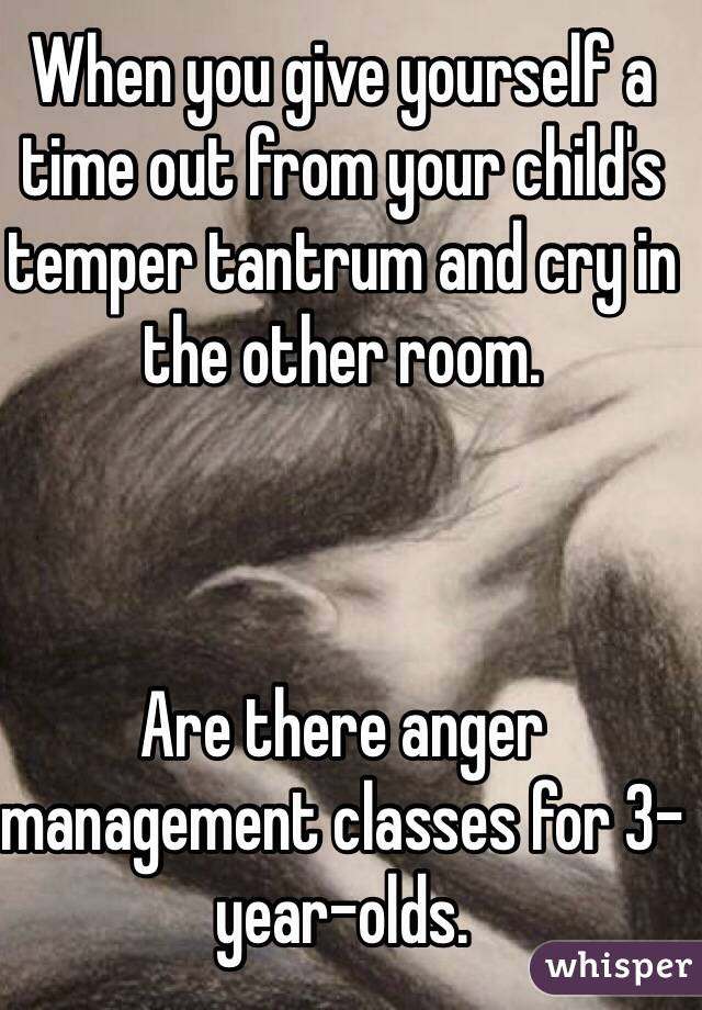 When you give yourself a time out from your child's temper tantrum and cry in the other room.     Are there anger management classes for 3-year-olds.