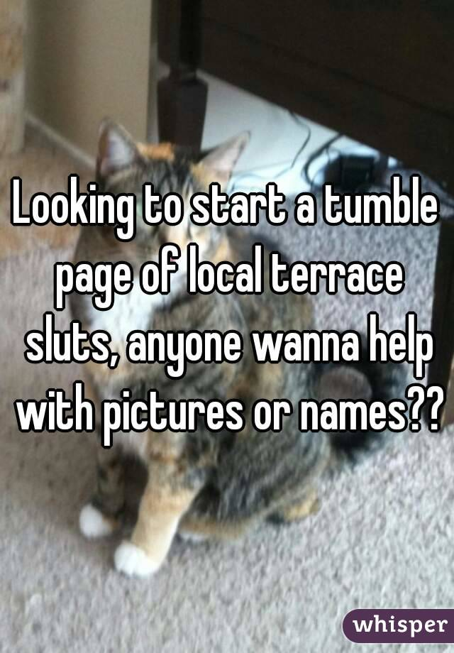 Looking to start a tumble page of local terrace sluts, anyone wanna help with pictures or names??