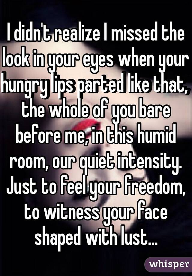 I didn't realize I missed the look in your eyes when your hungry lips parted like that, the whole of you bare before me, in this humid room, our quiet intensity. Just to feel your freedom, to witness your face shaped with lust...