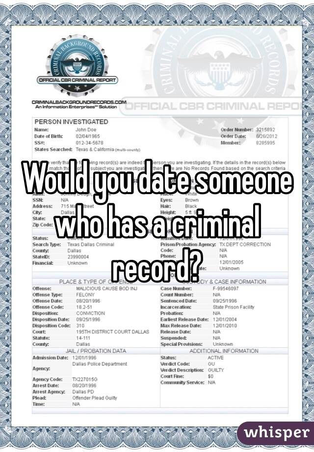 Would you date someone who has a criminal record?