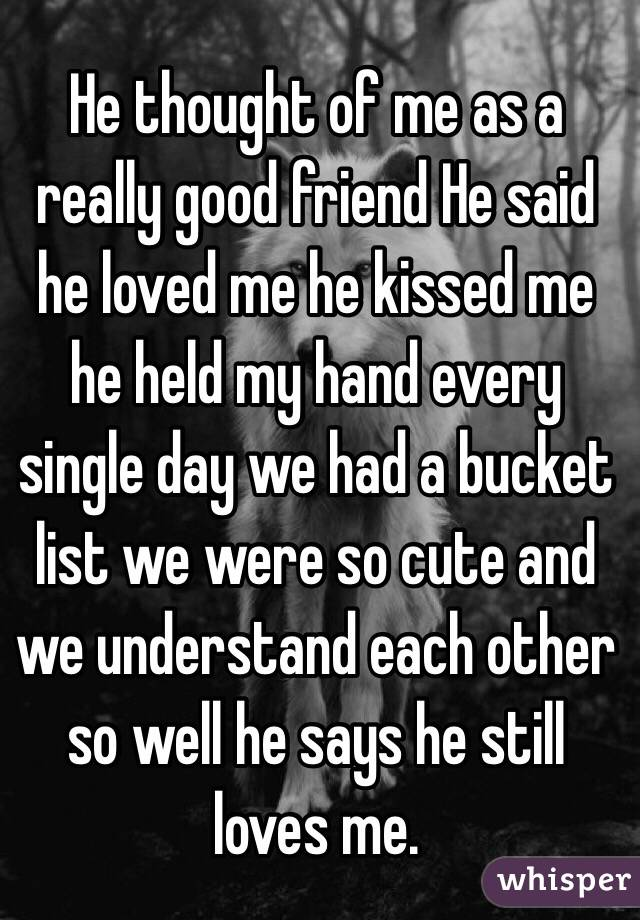 He thought of me as a really good friend He said he loved me he kissed me he held my hand every single day we had a bucket list we were so cute and we understand each other so well he says he still loves me.