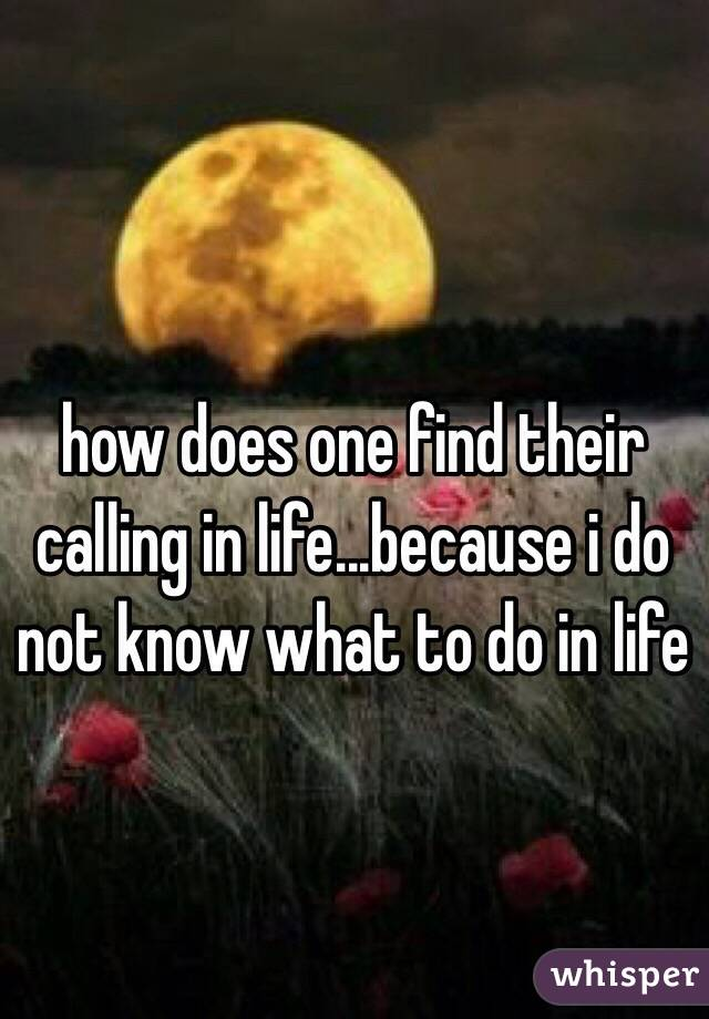 how does one find their calling in life...because i do not know what to do in life