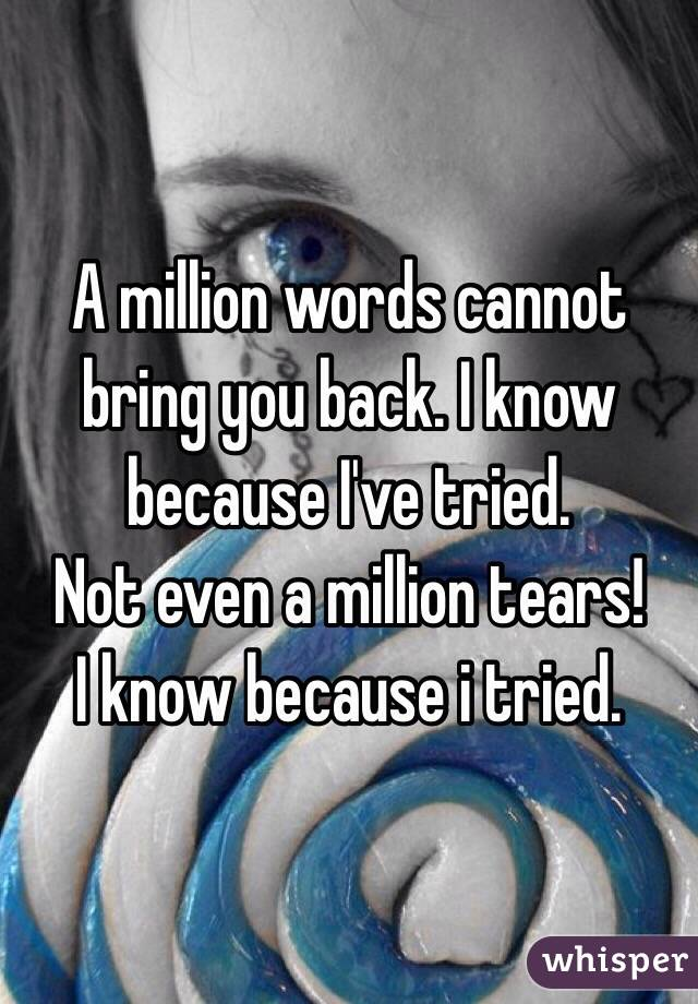 A million words cannot bring you back. I know because I've tried.  Not even a million tears! I know because i tried.