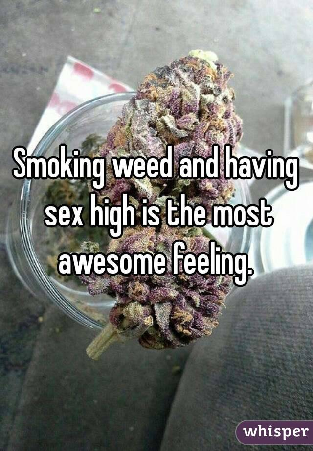 Smoking weed and having sex high is the most awesome feeling.