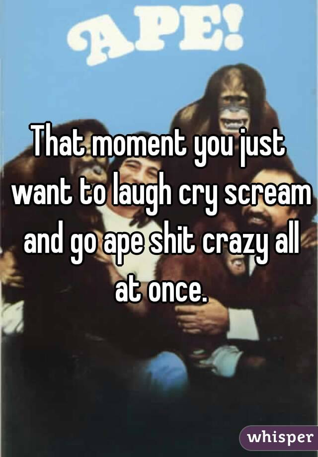 That moment you just want to laugh cry scream and go ape shit crazy all at once.