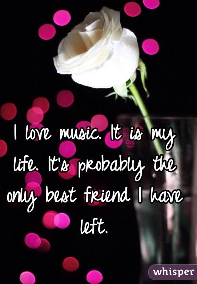 I love music. It is my life. It's probably the only best friend I have left.