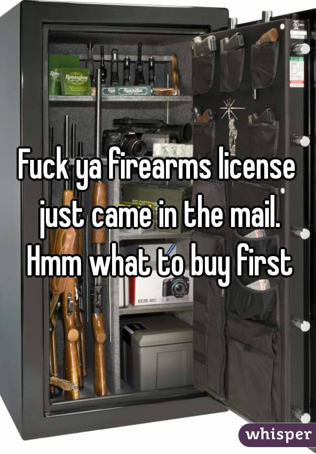 Fuck ya firearms license just came in the mail. Hmm what to buy first