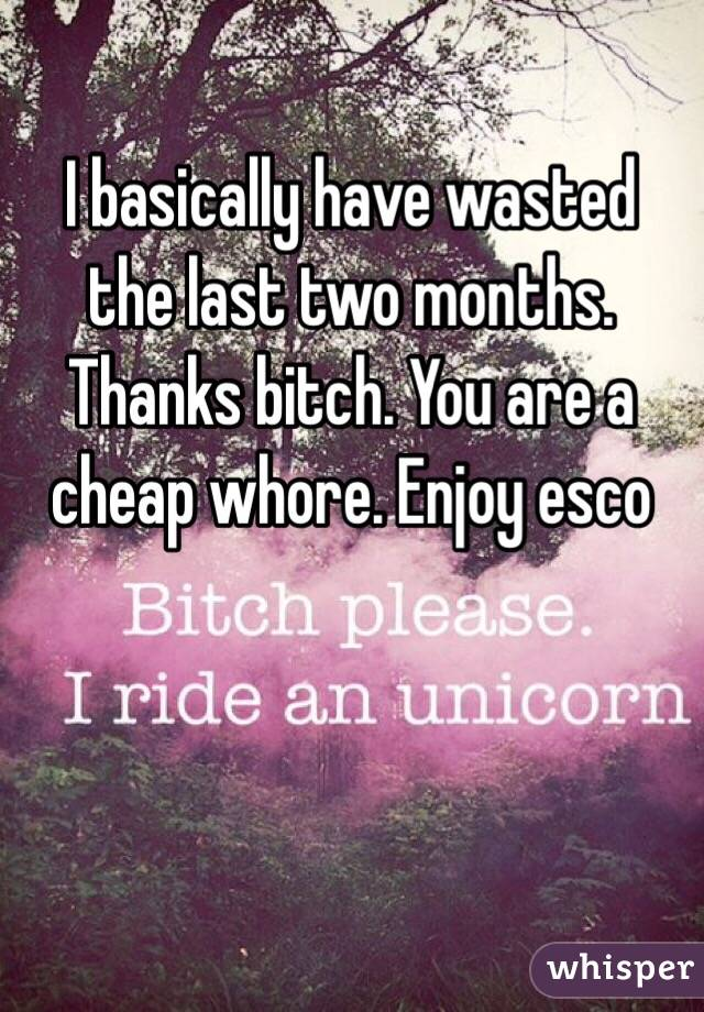 I basically have wasted the last two months. Thanks bitch. You are a cheap whore. Enjoy esco