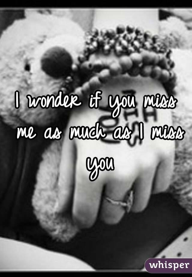 I wonder if you miss me as much as I miss you