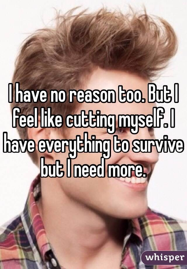 I have no reason too. But I feel like cutting myself. I have everything to survive but I need more.
