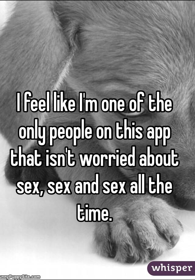 I feel like I'm one of the only people on this app that isn't worried about sex, sex and sex all the time.