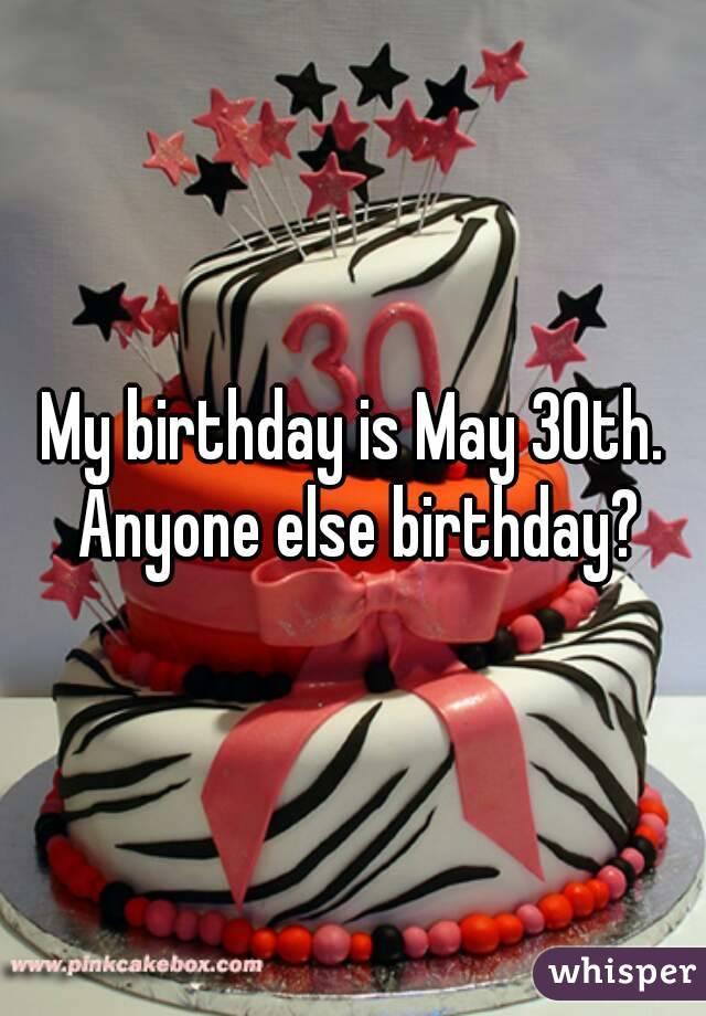 My birthday is May 30th. Anyone else birthday?