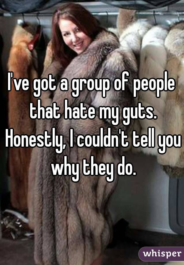 I've got a group of people that hate my guts. Honestly, I couldn't tell you why they do.