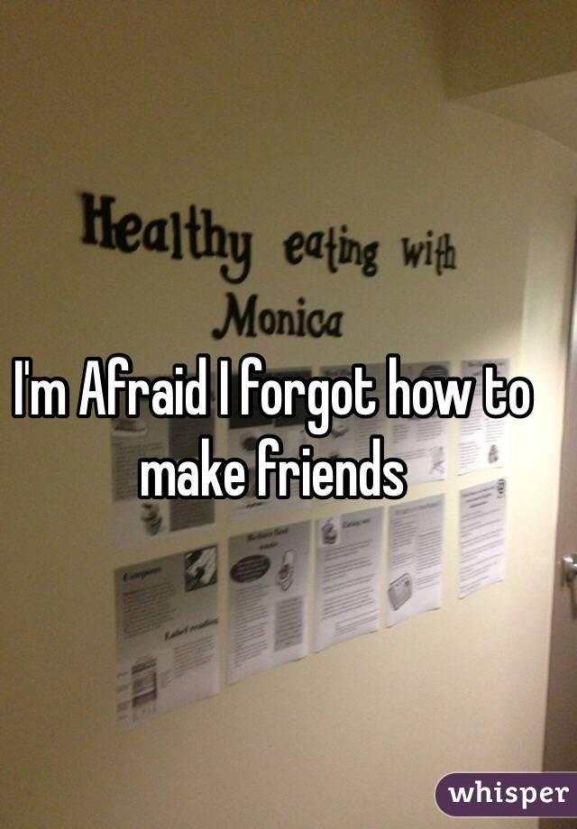 I'm Afraid I forgot how to make friends