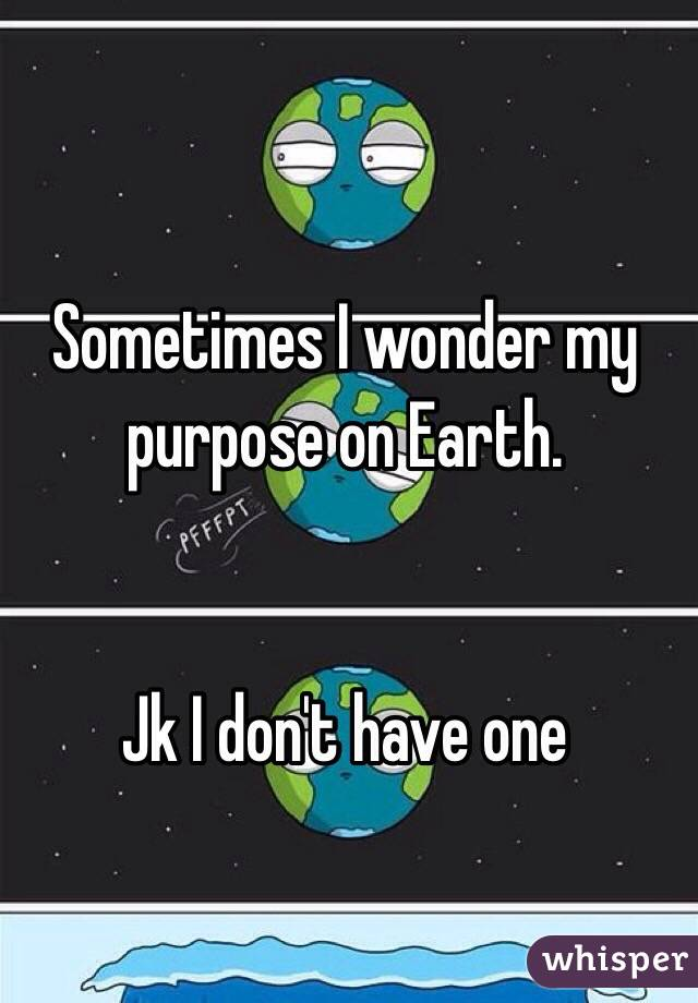 Sometimes I wonder my purpose on Earth.   Jk I don't have one