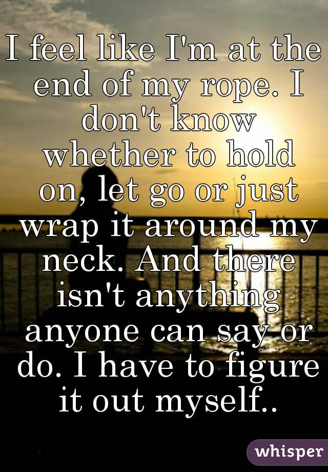 I feel like I'm at the end of my rope. I don't know whether to hold on, let go or just wrap it around my neck. And there isn't anything anyone can say or do. I have to figure it out myself..