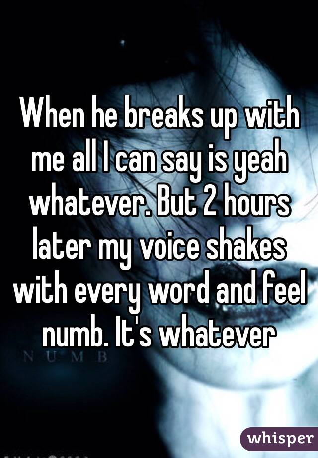 When he breaks up with me all I can say is yeah whatever. But 2 hours later my voice shakes with every word and feel numb. It's whatever