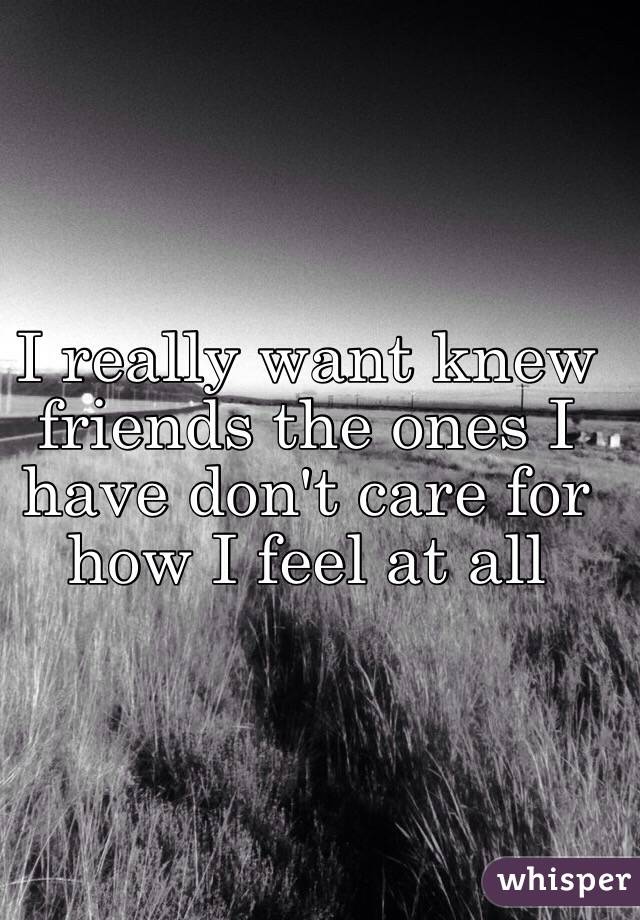 I really want knew friends the ones I have don't care for how I feel at all
