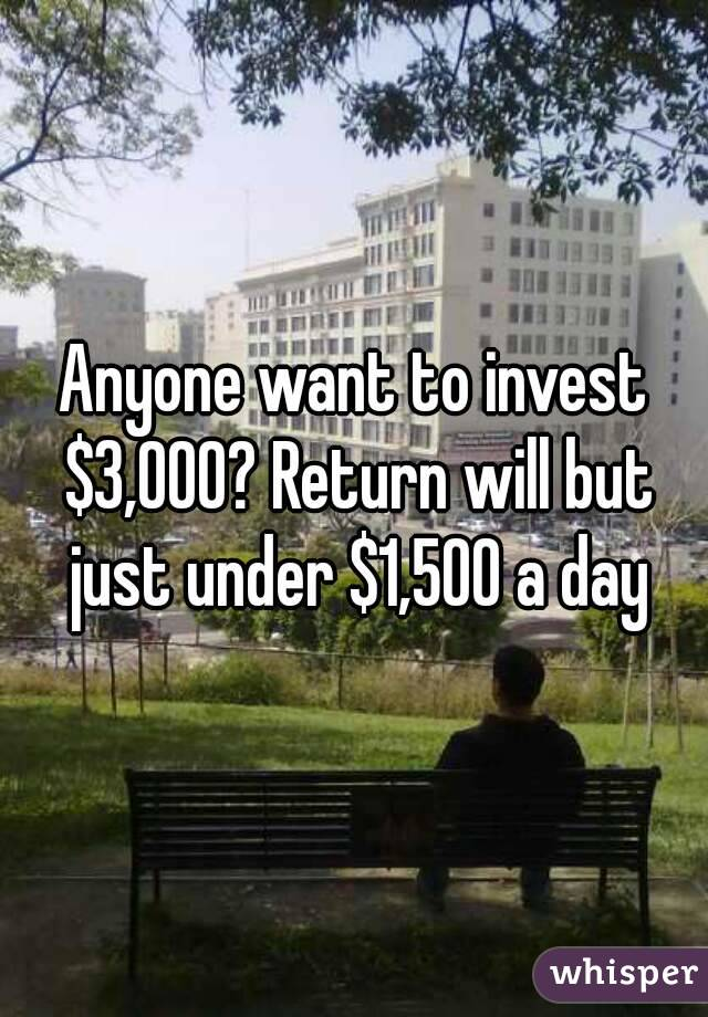 Anyone want to invest $3,000? Return will but just under $1,500 a day
