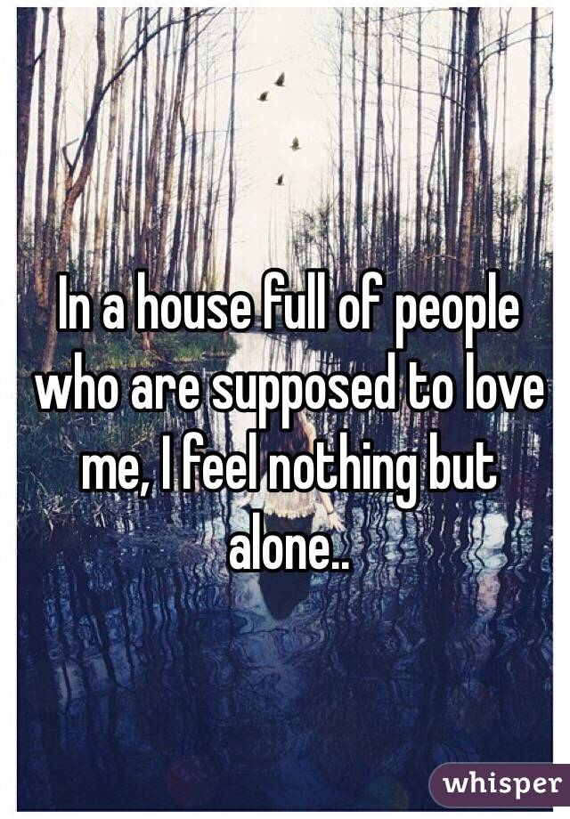 In a house full of people who are supposed to love me, I feel nothing but alone..
