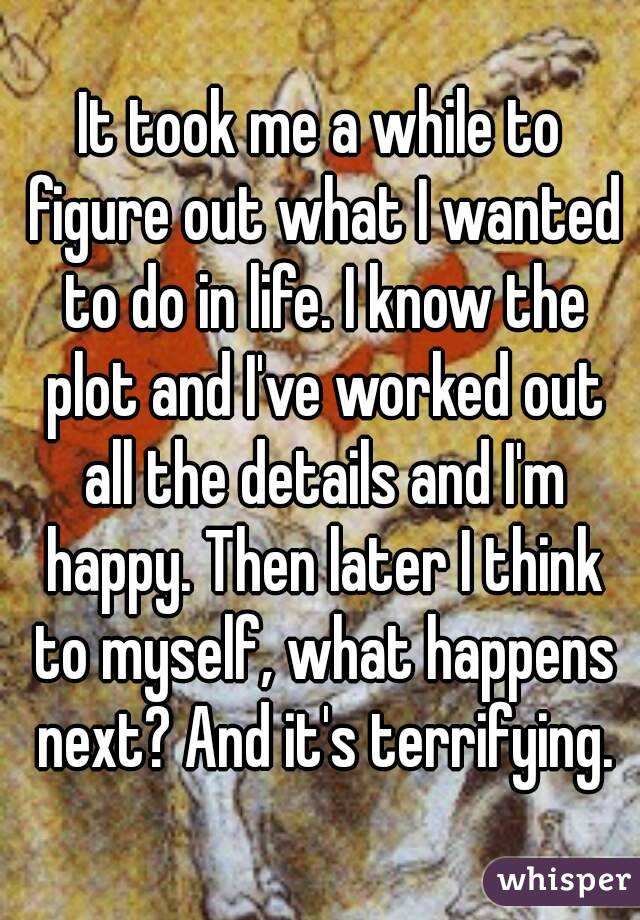 It took me a while to figure out what I wanted to do in life. I know the plot and I've worked out all the details and I'm happy. Then later I think to myself, what happens next? And it's terrifying.