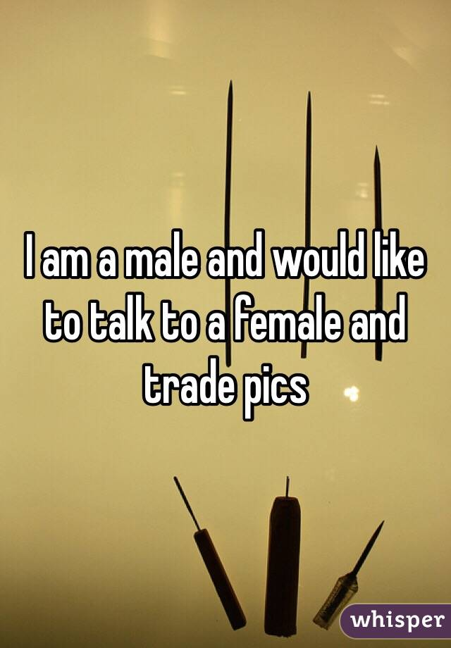 I am a male and would like to talk to a female and trade pics