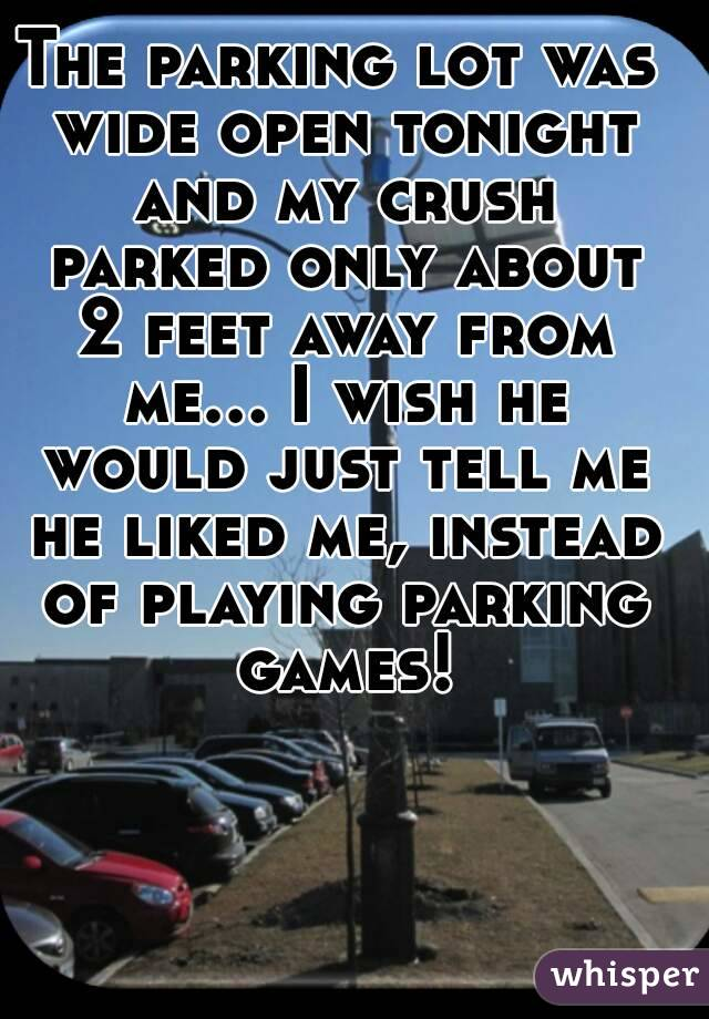 The parking lot was wide open tonight and my crush parked only about 2 feet away from me... I wish he would just tell me he liked me, instead of playing parking games!