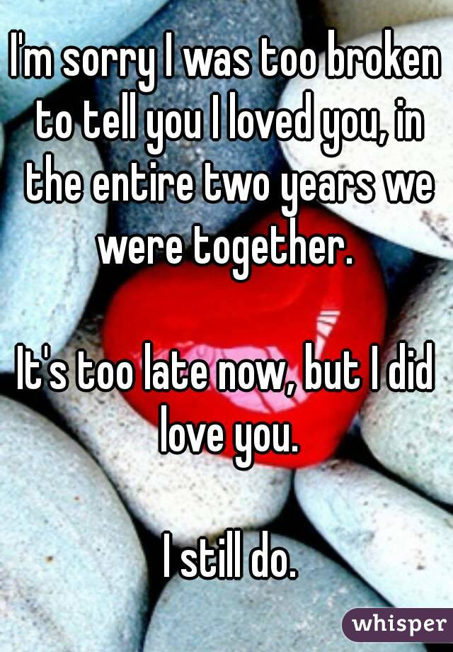 I'm sorry I was too broken to tell you I loved you, in the entire two years we were together.   It's too late now, but I did love you.   I still do.