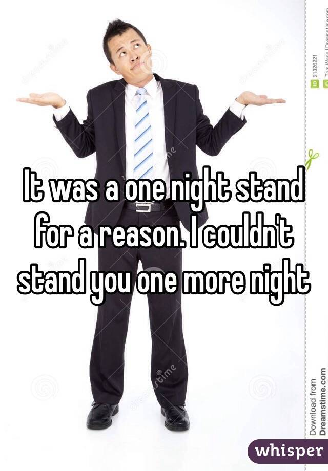 It was a one night stand for a reason. I couldn't stand you one more night