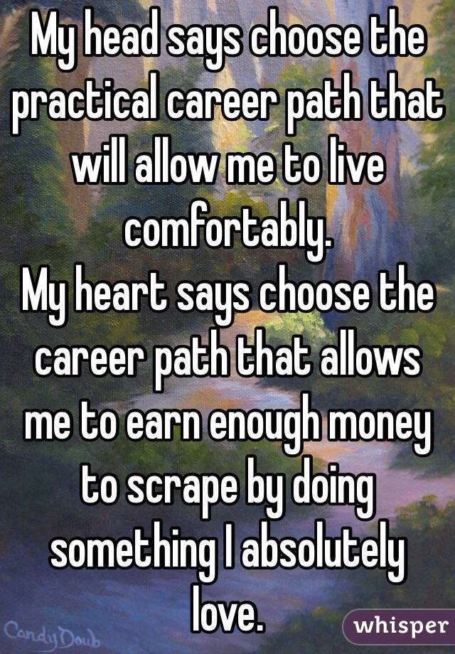 My head says choose the practical career path that will allow me to live comfortably.  My heart says choose the career path that allows me to earn enough money to scrape by doing something I absolutely love.