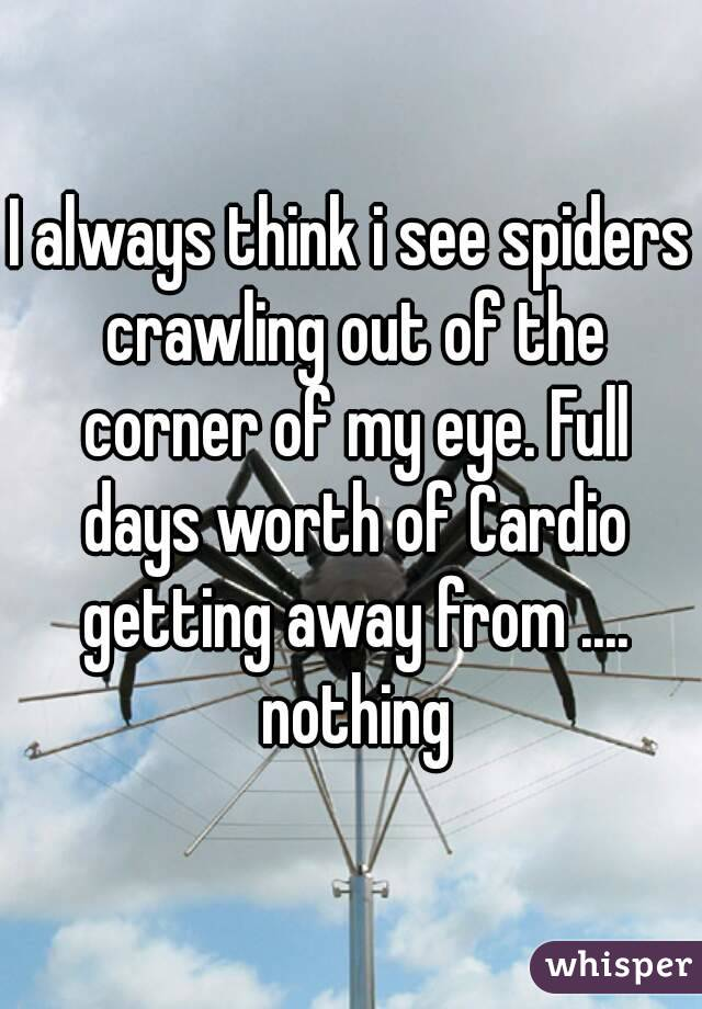 I always think i see spiders crawling out of the corner of my eye. Full days worth of Cardio getting away from .... nothing