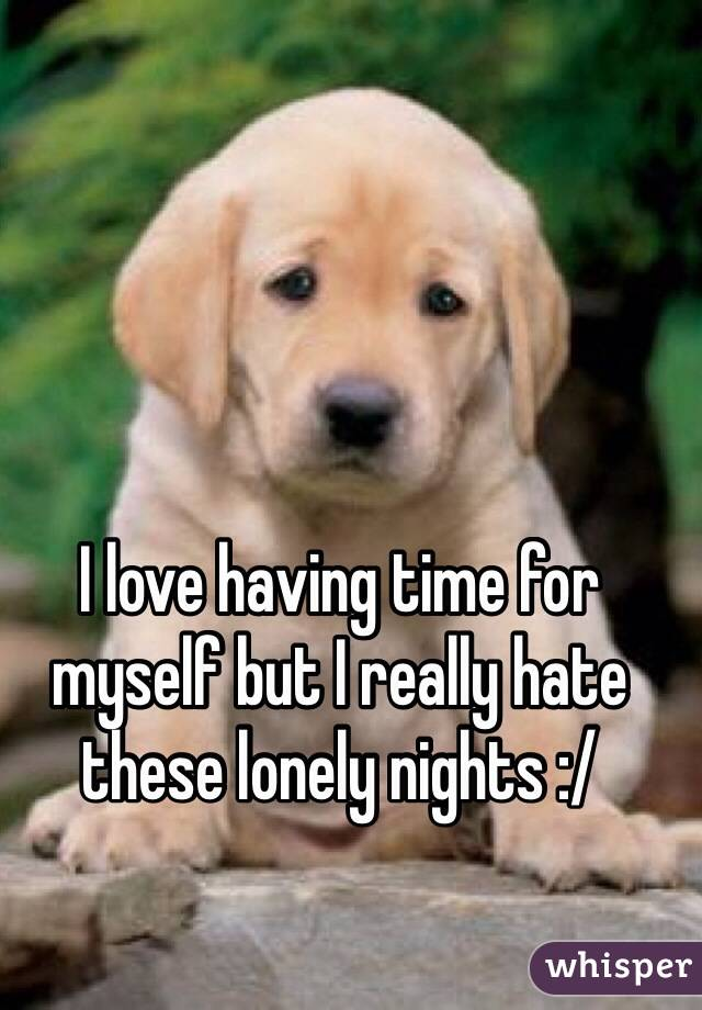 I love having time for myself but I really hate these lonely nights :/