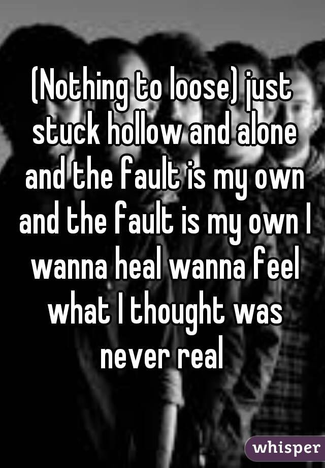 (Nothing to loose) just stuck hollow and alone and the fault is my own and the fault is my own I wanna heal wanna feel what I thought was never real