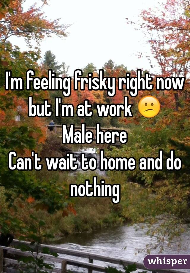 I'm feeling frisky right now but I'm at work 😕 Male here Can't wait to home and do nothing
