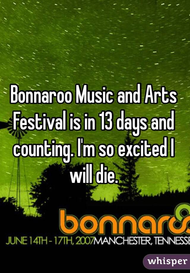 Bonnaroo Music and Arts Festival is in 13 days and counting. I'm so excited I will die.