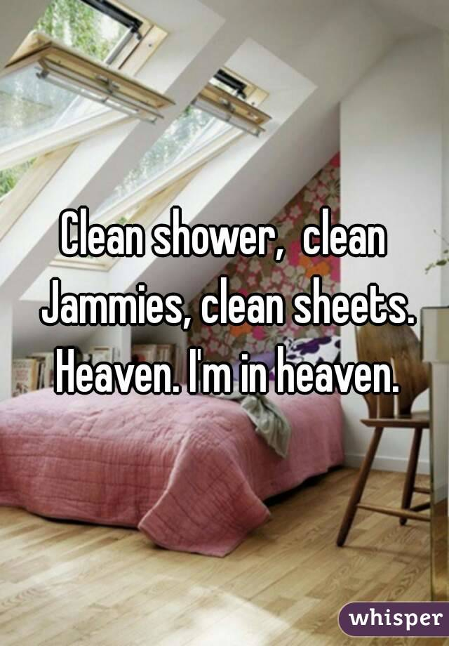 Clean shower,  clean Jammies, clean sheets. Heaven. I'm in heaven.