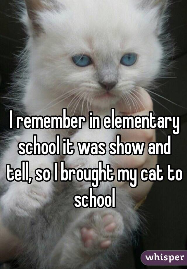 I remember in elementary school it was show and tell, so I brought my cat to school