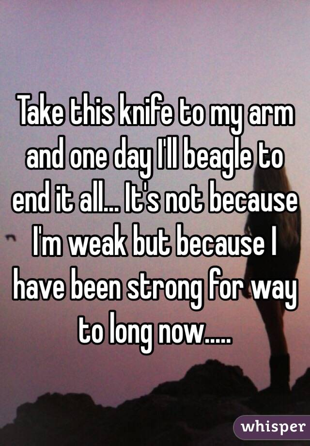 Take this knife to my arm and one day I'll beagle to end it all... It's not because I'm weak but because I have been strong for way to long now.....