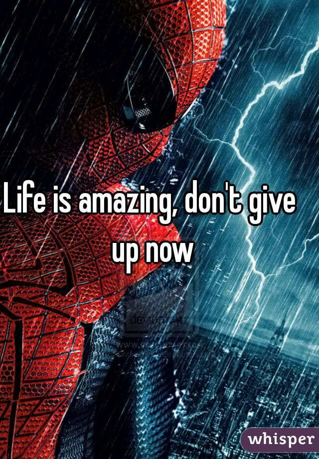 Life is amazing, don't give up now