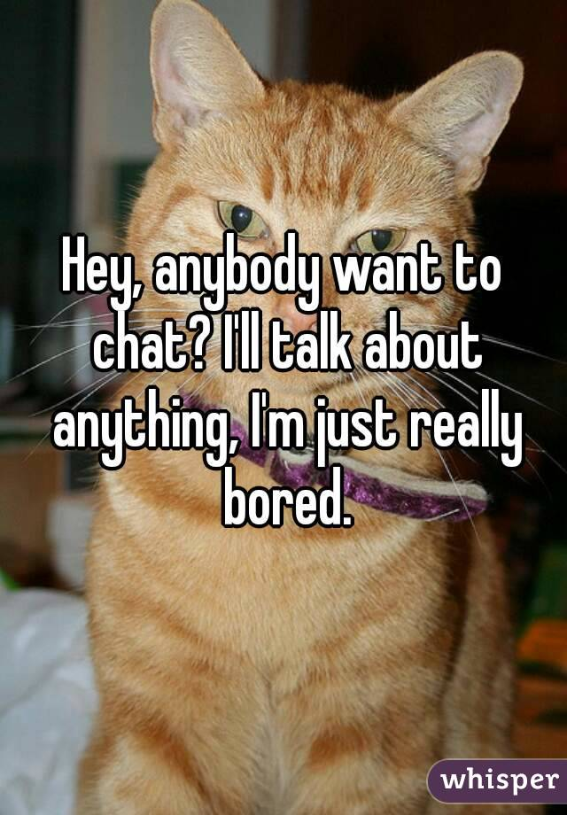 Hey, anybody want to chat? I'll talk about anything, I'm just really bored.