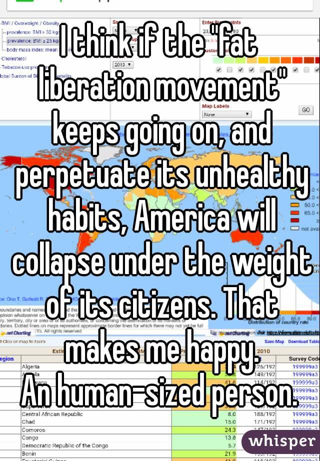 "I think if the ""fat liberation movement"" keeps going on, and perpetuate its unhealthy habits, America will collapse under the weight of its citizens. That makes me happy. An human-sized person."