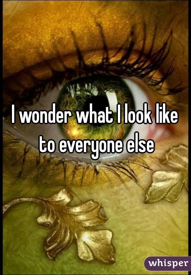 I wonder what I look like to everyone else