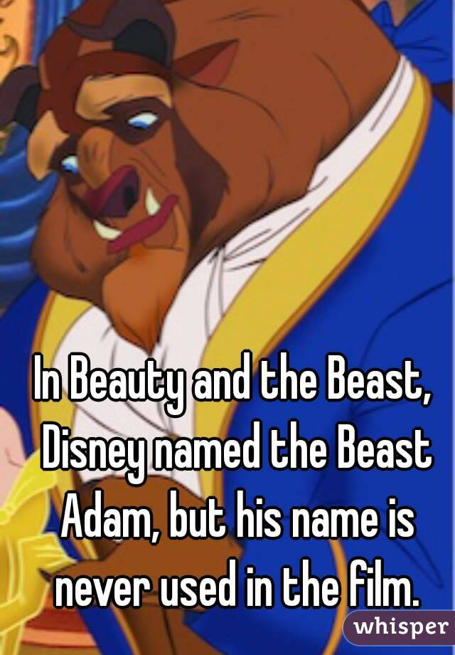In Beauty and the Beast, Disney named the Beast Adam, but his name is never used in the film.