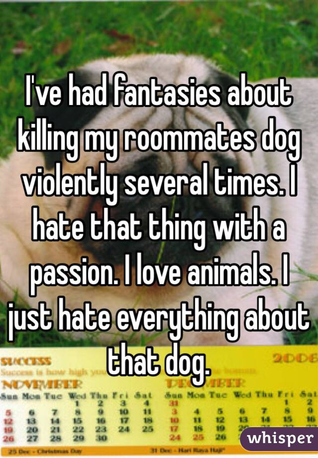 I've had fantasies about killing my roommates dog violently several times. I hate that thing with a passion. I love animals. I just hate everything about that dog.