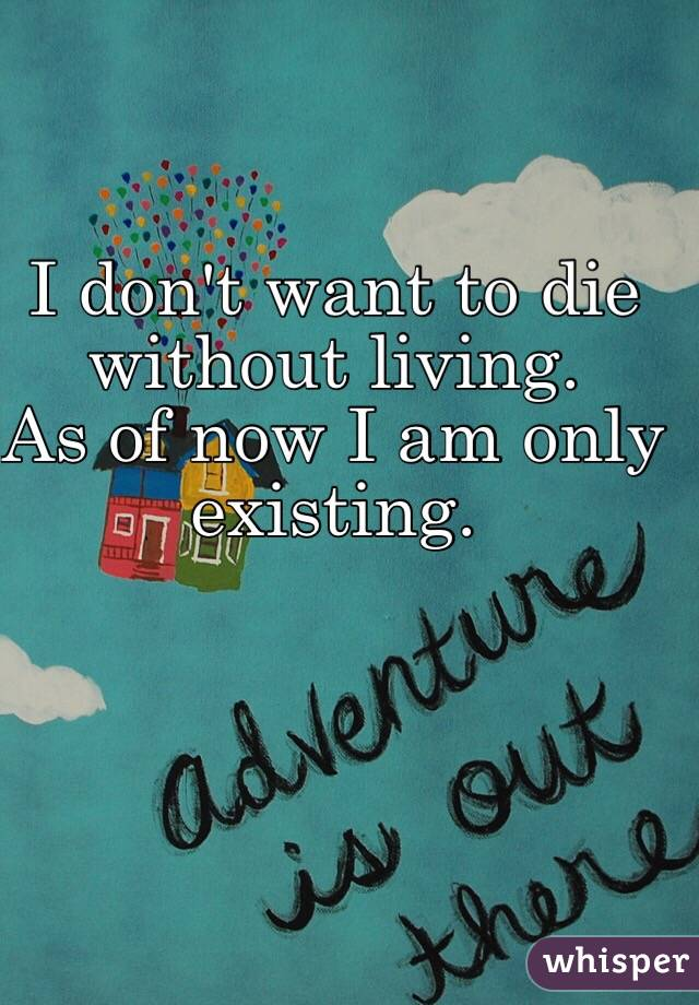 I don't want to die without living.  As of now I am only existing.